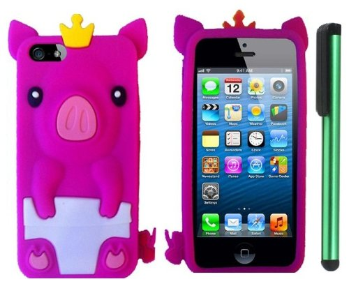 Review:  Hot Pink Cute Pig Yellow Crown Silicone Skin Premium Design Protector Soft Cover Case Compatible for Apple Iphone 5 (AT&T, VERIZON, SPRINT) + Combination 1 of New Metal Stylus Touch Screen Pen (4