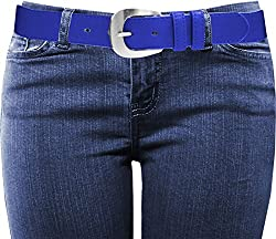 EURO Women's Fashion Thick Wide Leather Belt - BU1099 - Royal Blue - X-Large