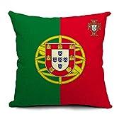 EOZY 可愛い 枕カバー 抱き枕用 リネン 綿麻製 45*45cm クッションカバー ピローケース イラストプリント ワールドカップ 国旗柄 ソファー ベッド 車に ポルトガル