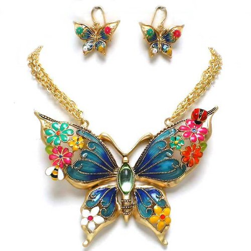 Beautiful Chunky Multi Color Butterfly and Flowers Goldtone Statement Necklace and Earrings Set Fashion Jewelry