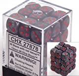 Chessex Dice d6 Sets: Velvet Black with Red - 12mm Six Sided Die (36) Block of Dice by Chessex