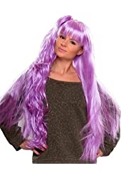 Light Purple Extra Long Wig with Clip-in Curly Ponytail COSPLAY !