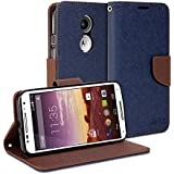 Moto X 2014 Case, GMYLE Wallet Case Classic for Motorola Moto X 2nd Gen 2014 - Navy Blue & Brown Cross Pattern PU Leather Slim Stand Case Cover (Not Fit For 2013 Version)