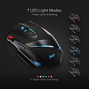 VicTop Wired Gaming Mouse with 6 Adjustable DPI Switch Function(7200/5400/3200/2400/1600/800 DPI), 7 Buttons Ergonomic LED, 7-Color LED Breathing Light For Pro Game Notebook PC Laptop Computer