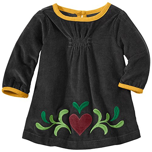 Hanna Andersson Little Girl Swedish Heart Pincord Dress, Size 80 (2T), Artifact Grey front-956099