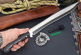 "CFK Cutlery Company IPAK USA - TRAIL BOSS V - Custom Handmade D2 Tool Steel Micarta 18"" Bushcraft Machete Camping Knife with Leather Sheath & Fire Starter Rod Set CFK57"