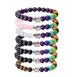 JSDDE-Lava-Armband-Zen-Buddhismus-Armreif-mit-Elefant-Energietherapie-Yoga-Armband-7-Chakra-Healing-Balance-Buddha-ArmbandRosenquarz