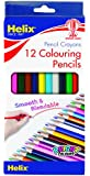 Helix 7 Inch Long Length Childrens Colouring Pencils - Set of 12 Assorted Colours PN3010