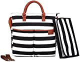 Diaper Bag by Hip Cub – Plus Matching Baby Changing Pad – Black and White Stripe Designer Cotton Canvas W/ Cute Tan Trim
