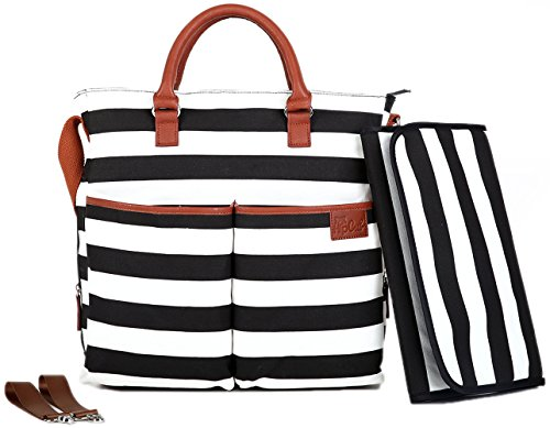 Diaper Bag by Hip Cub - Plus Matching Baby Changing Pad - Black and White Stripe Designer Cotton Canvas W/ Cute Tan Trim - 1