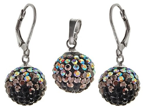 Stylish Jewellery: 925 Sterling Silver Shamballa Black, Black Diamond & Aurore Boreale Swarovski Crystal Ball Secure Lever Back Earrings & Necklace Set. Come With Sterling Silver Snake chain - 42cm.