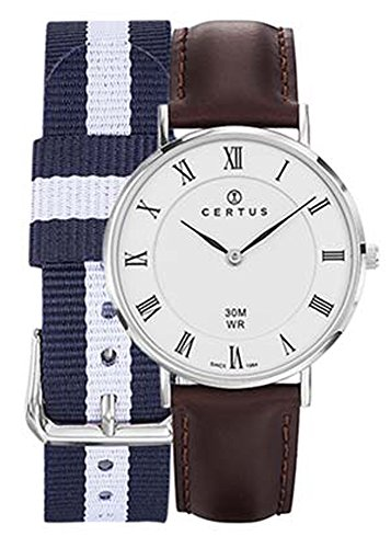 Certus Unisex Watch - 611004 Case - Silver - White Dial - Brown Leather Strap Roman Numerals