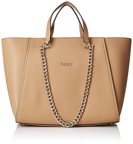 guess-womens-nikki-chain-tote-handbag-brown-camel-one-size