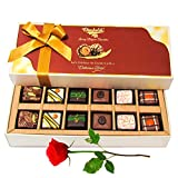 Amazing 12Pc Mixed Chocolates With Red Rose - Chocholik Belgium Chocolates