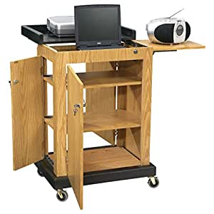 "Oklahoma Sound SCL-OK Smart Cart Lectern, 28"" Width x 41"" Height x 21"" Depth, Light Oak"