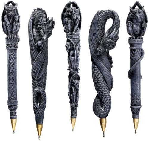 6.5″ Gargoyles Dragons Sculpture Statue Pen Gift Set – Set of 5