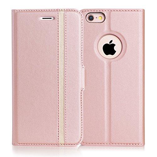iPhone6s ケース iPhone6ケース,Fyy 100%手作り 高級PUレザー ケース 手帳型 スマホケース スマホカバー 横開き 財布型 カバー カードポケット スタンド機能 マグネット式 スマートフォンケース ローズゴールド