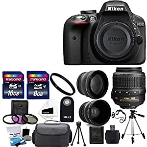 Nikon D3300 24.2 MP CMOS Digital SLR Camera with 18-55mm f/3.5-5.6G VR II Zoom Lens + 2x Professional Lens +HD Wide Angle Lens + UV Filter Kit with 24GB Deluxe Accessory Bundle (Certified Refurbished)