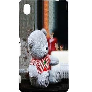Casotec Cute Teddy Bear Design Hard Back Case Cover for Sony Xperia M4 Aqua