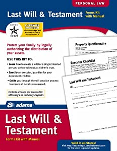 Adams Last Will and Testament Kit,  8.88 x 11.69 Inch, White (K307)