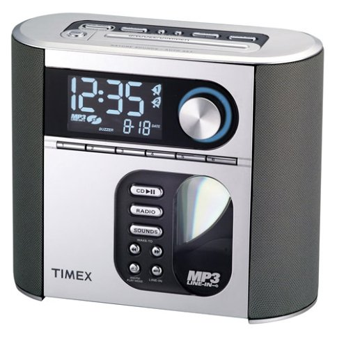 clock radios timex t617s nature sounds auto set cd clock radio with smart knob tuning and mp3. Black Bedroom Furniture Sets. Home Design Ideas