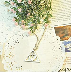 Etched Harry Potter Deathly Hallow Pendant Fashion Necklace