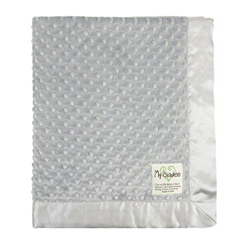 "My Blankee Minky Dot Baby Blanket, 30"" x 35"", Silver"