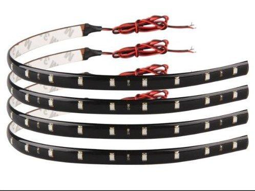 Ecloud Shop® 2 pieces 4 X Bande Lumineux Lampe 12V 15 LEDs Etanche Rouge Pour Voiture 30x1cm