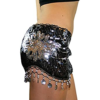 Belly Dance Hip Scarf Skirt Wrap Full Sequins Silver Coins Polyester Dancer