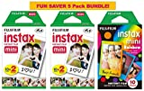 Fujifilm Instax Mini Film, Rainbow Bundle - 3 items Total 50 sheets: 2* Instax Mini Film with 10 Sheets x 2 Packs + 1* Instax mini Film Rainbow with 10 Sheets