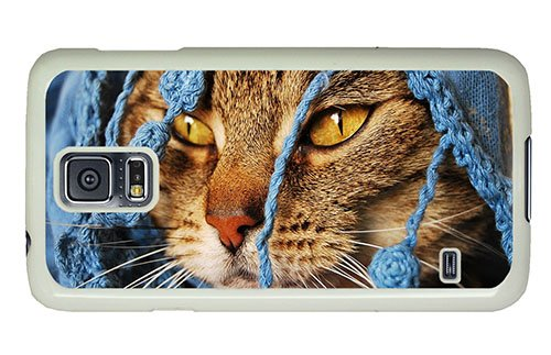 Hipster Samsung S5 Unique Cases Cat Under Blanket Pc White For Samsung S5 front-997057