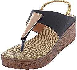 Stepfun Womens Black Synthetic Outdoor Sandals, UK 9