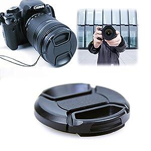 2Pcs Center Pinch Lens Cap and Cap Keeper Leash for Canon Nikon Sony Fuji Olympus Panasonic DSLR Camera  Microfiber Cleaning Cloth (52mm)