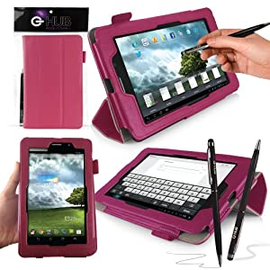ASUS FonePad Case Cover Folio Skin, PINK with integrated PropUp Flip-Stand Function for ASUS FonePad ME371MG. Includes BONUS: G-HUB ProPen Stylus