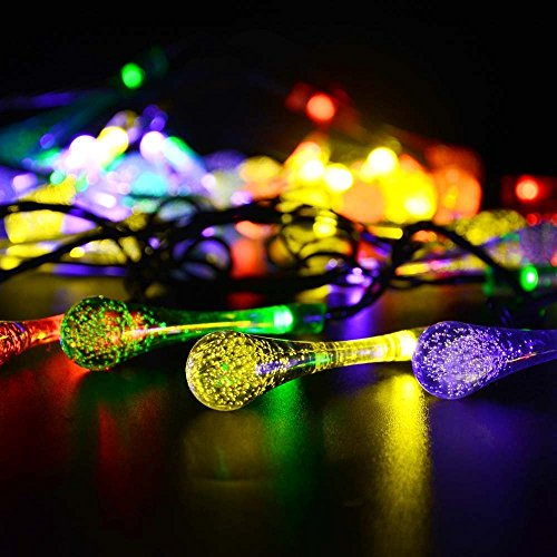 String Utility Lights : Icicle Solar String Lights, 15.7ft 8 Light Modes 20 LED Water Drop Fairy String Lighting for ...