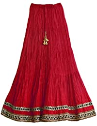 DollsofIndia Red Long Skirt With Zari Border - Length - 41 Inches - Elastic Waist - 21 To 34 Inches - Red