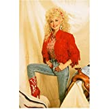 Dolly Parton in Orange Fringe Jacket and Patterned Shirt and Jeans One Leg Propped Up 8 x 10 inch photo