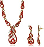 Niki Jewels Gold-Plated Pendant Set For Women Red - 13 34 3110