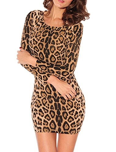 Doris Women's Leopard Printed Long Sleeve Fashion Sexy Clubwear Mini Dress