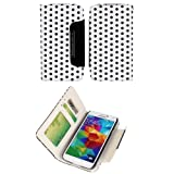 Candywe 2in1 Colorful Polka Dot PU Leather Travel Wristlet Wallet Clutch Flip Case Pouch for Samsung Galaxy S5 White/Black