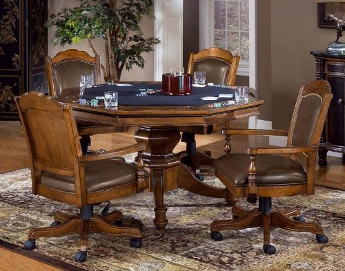 Buy Low Price Hillsdale 5pc Game Dining Table and Chairs Set in Brown Finish (HS-6060GTBC)