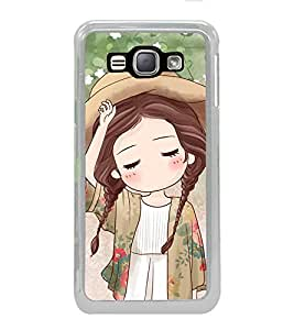 ifasho Lovely Girl with Hat Back Case Cover for Samsung Galaxy J1 (2016 Edition)