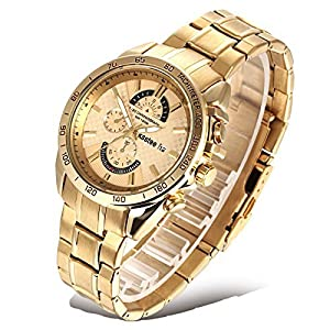 Ksstee Luxury Men's K520J Business Analog Quartz Wrist Watch Stainless Seel Gold Link Band,Waterproof, With FREE Link Pin Remover Adjuster