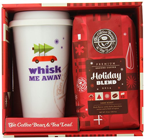 The Coffee Bean & Tea Leaf Winter Travel Set, Holiday Blend Ground Coffee And Ceramic Travel Cup