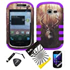 4 items Combo: ITUFFY LCD Screen Protector Film + Mini Stylus Pen + Case Opener + Outdoor Wild Deer Grass Camouflage Design Rubberized Hard Plastic + PURPLE Soft Rubber TPU Skin Dual Layer Tough Hybrid Case for Samsung Galaxy Centura S738C / Samsung Galaxy Discover S730G (Straight Talk / Net10/ TracFone)