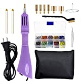 ZIIYAN Hotfix Applicator, DIY Hot Fix Rhinestone Applicator Wand Setter Tool Kit with 7 Different Sizes Tips, Tweezers, Cleaning Brush and 1 Boxe of Hot-Fix Crystal Rhinestones