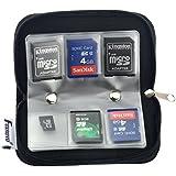 Foxnovo Portable 22 Slots SD SDHC MMC CF Micro SD mémoire carte titulaire poche avec fermeture éclair stockage sac protecteur (Noir)