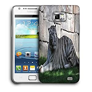 Snoogg White Tiger Printed Protective Phone Back Case Cover For Samsung Galaxy S2 / S II