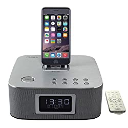 [Apple Certified] RSR DS406 Ultra-Portable Bluetooth Speaker, FM Radio and Alarm Clock, MFI Lightning Dock iPod/iPhone/iPad Alarm Clock Speaker Dock with Bluetooth, Compatible with iphone 6 Plus with remote control Silver