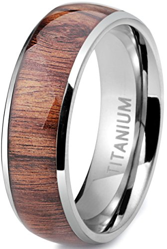 Jstyle Titanium Engagement Rings for Men Vintage Wedding Band 8mm Size 10.5